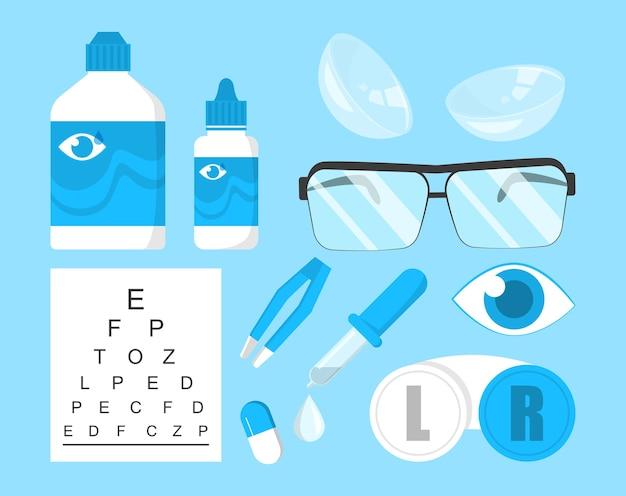 Augenheilkundliche sammlung isoliert. augenkorrekturausrüstung