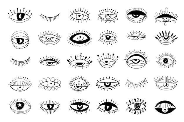 Augenkollektion isoliert, boho-stil, modernes design