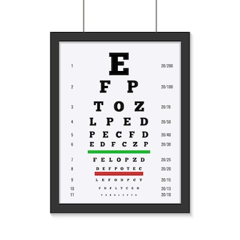Augenpflege-testbrett mit lateinischen buchstaben flach