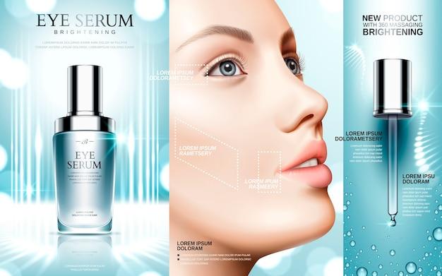 Augenserum in kosmetikflaschen und modellgesicht enthalten