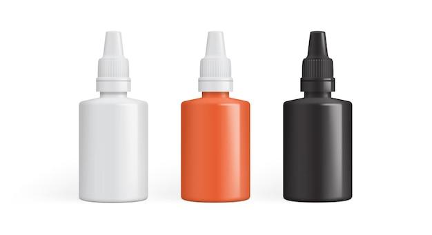 Augentropfen, tropfen für die ohren, tropfen für die nase oder verpackung für kleber.