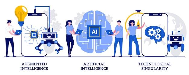 Augmented intelligence, künstliche kognitive robotik, technologisches singularitätskonzept mit winzigen menschen. modernste technologie-vektor-illustration-set. hightech-metapher für maschinelles lernen.