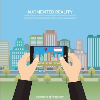 Augmented-Reality-Hintergrund mit Gerät