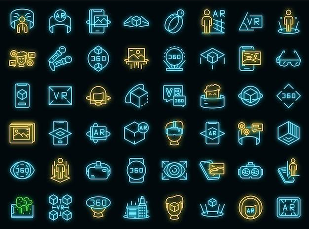 Augmented-reality-icons gesetzt. umrisse von augmented-reality-vektorsymbolen neonfarbe auf schwarz