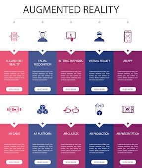 Augmented reality infografik 10 option ui-design.gesichtserkennung, ar-app, ar-spiel, virtual reality einfache symbole