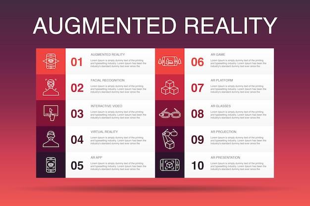Augmented reality infografik 10-optionsvorlage. gesichtserkennung, ar-app, ar-spiel, einfache symbole der virtuellen realität