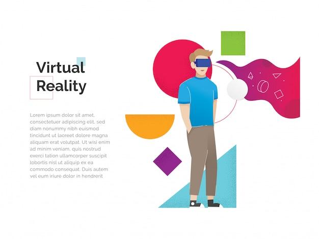 Augmented-reality-konzept banner mit charakter