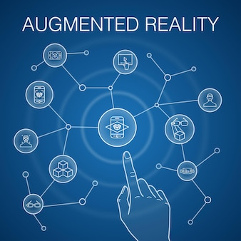 Augmented-reality-konzept, blauer hintergrund. gesichtserkennung, ar-app, ar-spiel, virtual-reality-symbole