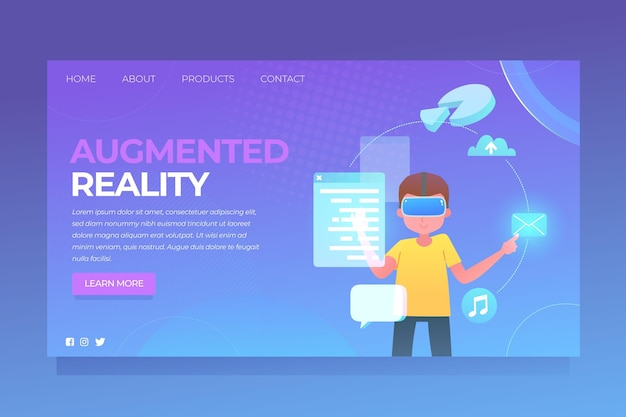 Augmented reality konzept - landing page
