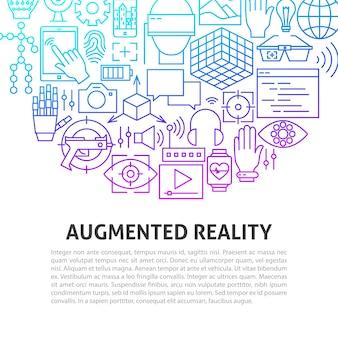 Augmented reality-linienkonzept. vektor-illustration der gliederungsschablone.
