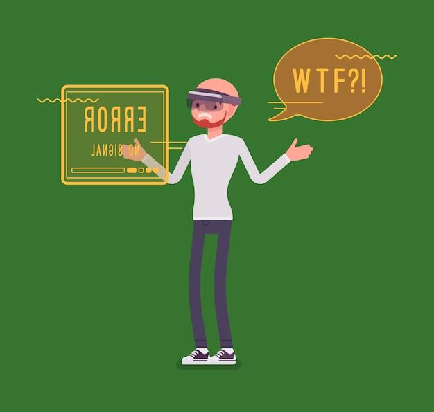 Augmented reality mann mit negativen erfahrungen und problemen