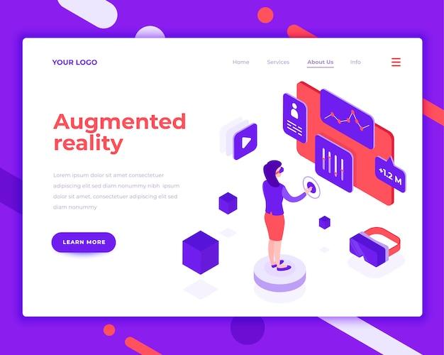 Augmented reality menschen und interagieren mit virtuellen bildschirm