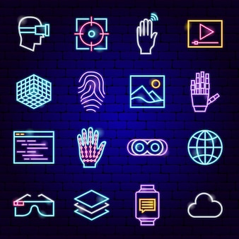 Augmented reality-neon-icons. vektor-illustration von vr-technologie-symbolen.