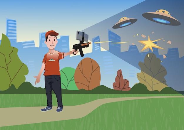 Augmented reality-spiele. junge mit ar-waffe spielt einen schützen. spielwaffe mit handy. illustration im flachen stil.