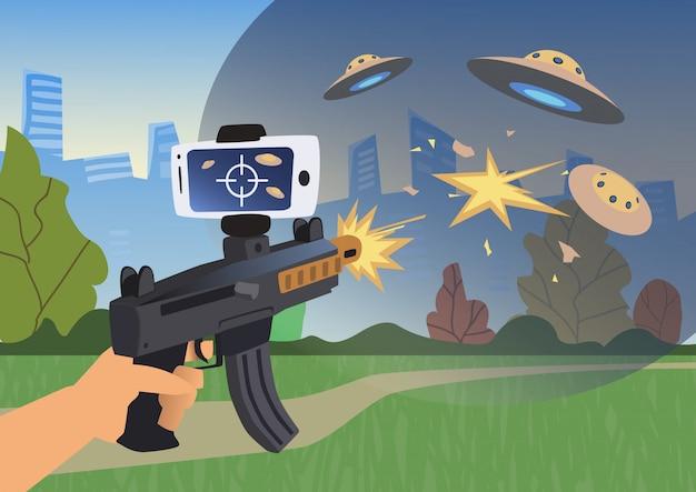 Augmented reality-spiele. junge mit ar-waffe spielt einen schützen.