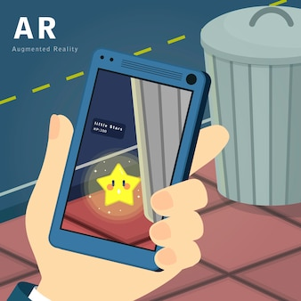 Augmented reality-spielkonzept im flachen stil
