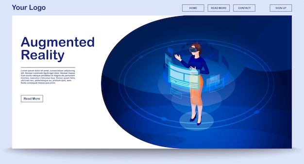 Augmented reality webseitenvorlage mit isometrischer illustration