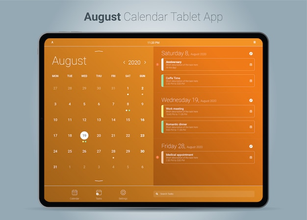 August kalender tablet app-oberfläche