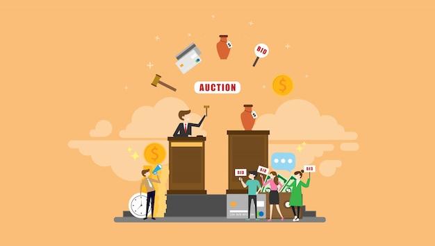 Auktion, die kleine leute-charakter-illustration bietet