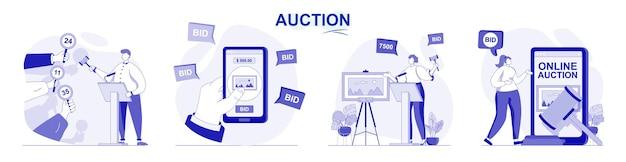 Auktion isoliertes set in flachem design menschen verkaufen und kaufen gemälde von kunstkäufern, die lose bieten