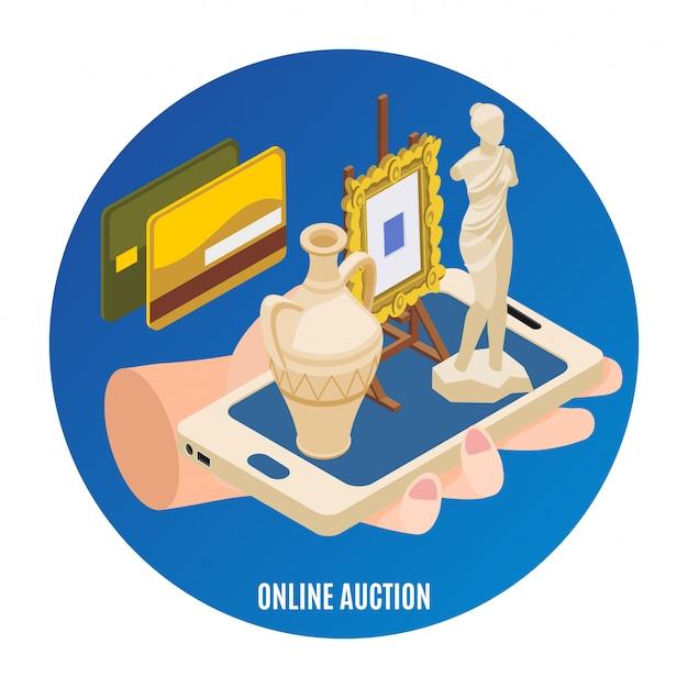 Auktion isometrisch mit online-auktionsüberschrift und abstrakter emblemillustration