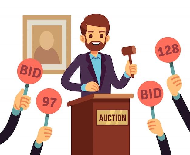 Auktion mit dem mann, der hammer und leute hält, hob hände mit angebotspaddel-vektorkonzept an. auktionsgeschäft, angebot und verkauf, handelshandelsillustration