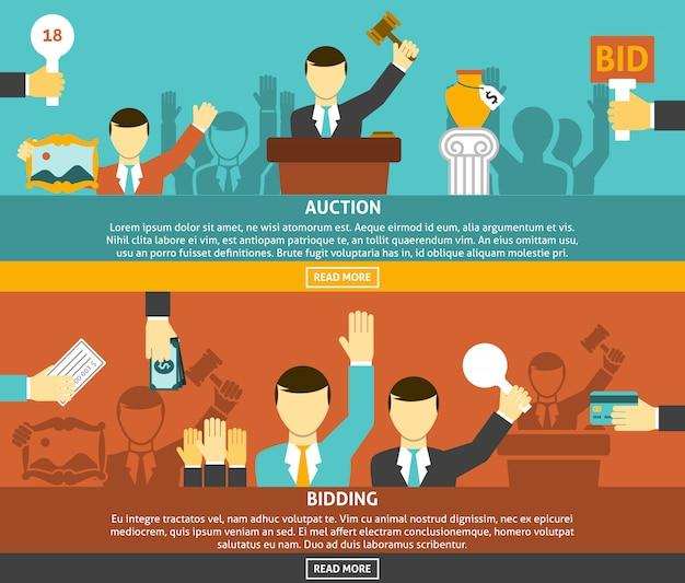 Auktion und bieten banner set