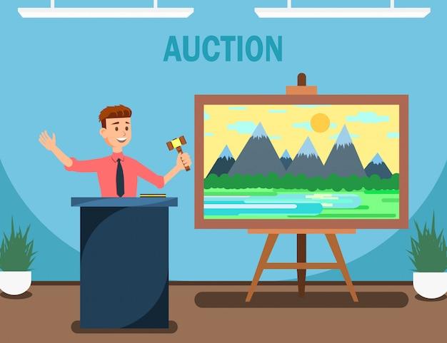 Auktionator mit hammer, der landschaftsmalerei verkauft.