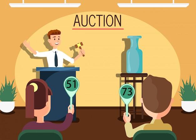 Auktionator mit hammer verkauft vase an teilnehmer.