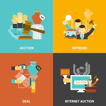 Auktions-deal icons set