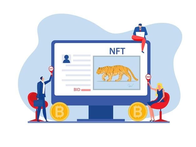 Auktionsgeschäft verkauf von tiermalerei konzept des verkaufs von nicht fungiblen token bei einer auktion nft-technologievektor.