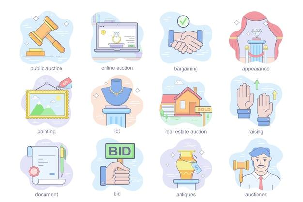 Auktionsgeschäftskonzept flache icons set bündel von online- oder öffentlichen auktionen gemälde lot feilsch...