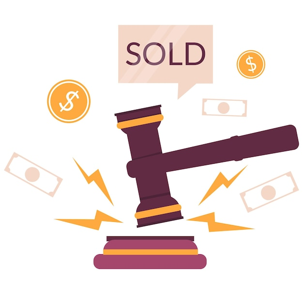 Auktionshammer, verkaufte sprechblase, geld, flache vektorillustration. markthandel. auktionsgeschäft.