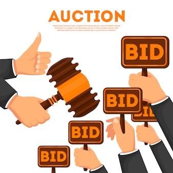 Auktionsplakat mit den händen, die gebot halten, unterzeichnet