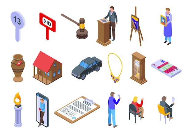Auktionssymbole eingestellt. isometrischer satz von auktionssymbolen für web lokalisiert auf weißem hintergrund