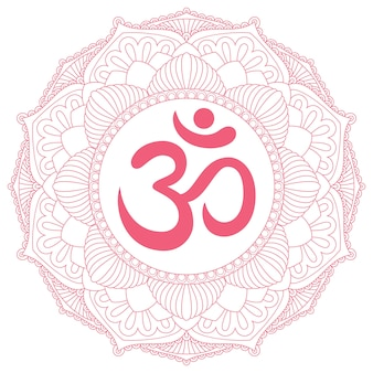 Aum- oder ohm-symbol im dekorativen runden mandala-ornament.