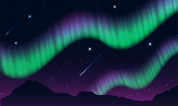 Aurora, polarlichter, nordlichter oder südlichter ist eine natürliche lichtanzeige