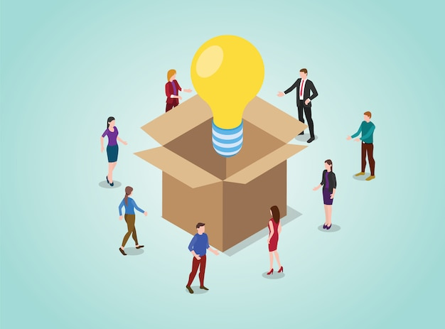 Aus dem kasten heraus denkendes konzept für das lösen von problemen mit glühlampe mit teamleuten