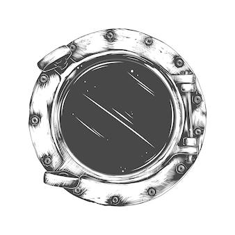 Aus metall bullauge mit glas isoliert. nieten montieren