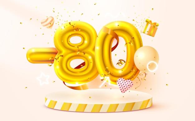 Aus rabatt kreative komposition d goldenes verkaufssymbol mit dekorativen objekten herzförmige luftballons goldenes konfetti-podium und geschenkbox-verkaufsfahne und plakatvektor