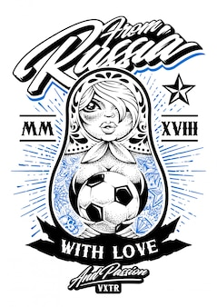 Aus russland mit liebesillustration