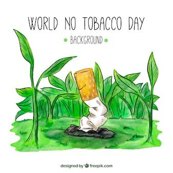 Aus zigarettenhintergrund zwischen pflanzen