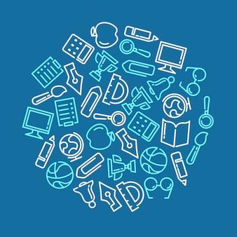 Ausbildungshintergrund mit gezeichneten ikonen