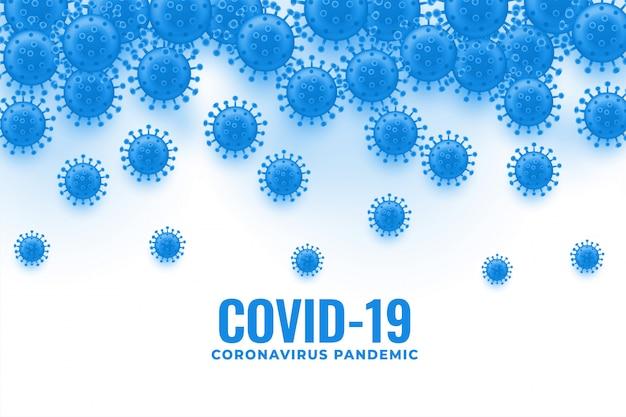 Ausbreitung und fallender hintergrund der coronavirus-viruszellen