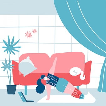 Ausbruch des covid-19-virus. menschen werden zu hause unter quarantäne gestellt, um die ausbreitung von infektionen zu verhindern. maskierte frau praktiziert yoga zu hause. coronavirus draußen. während der quarantäne ruhig bleiben. flache illustration