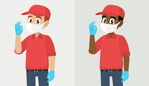 Ausbruch des covid- oder corona-virus zusteller oder kurier in maske und handschuhen mit ok-zeichen