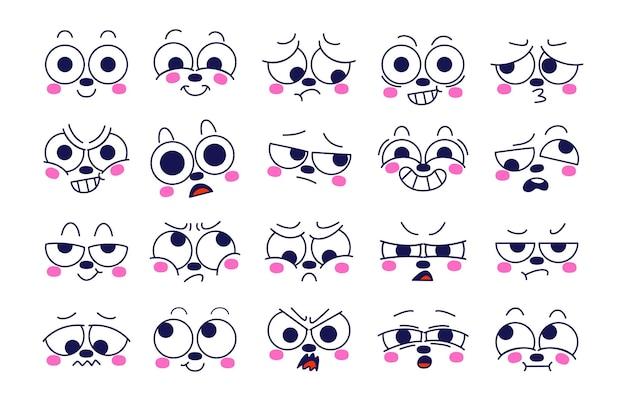 Ausdruck des emotionskonzepts. charaktergesicht in verschiedenen emotionen.