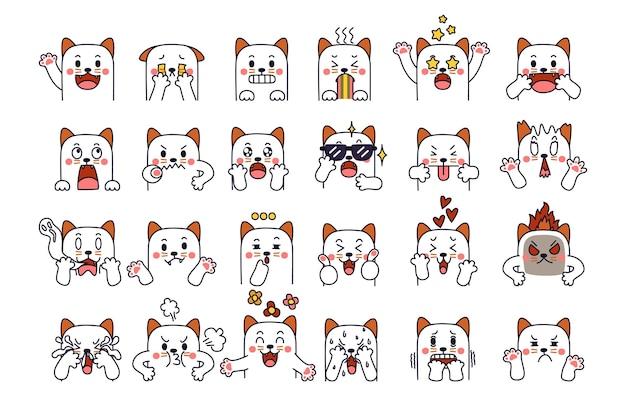 Ausdruck des emotionskonzepts. katzencharakter in verschiedenen tiergefühlen.