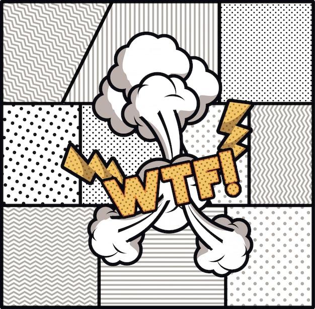 Ausdrucksblase mit wtf pop-art-stil