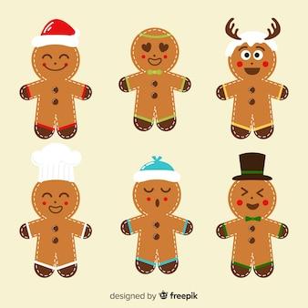 Ausdruckslebkuchenmann-plätzchen-weihnachtssammlung